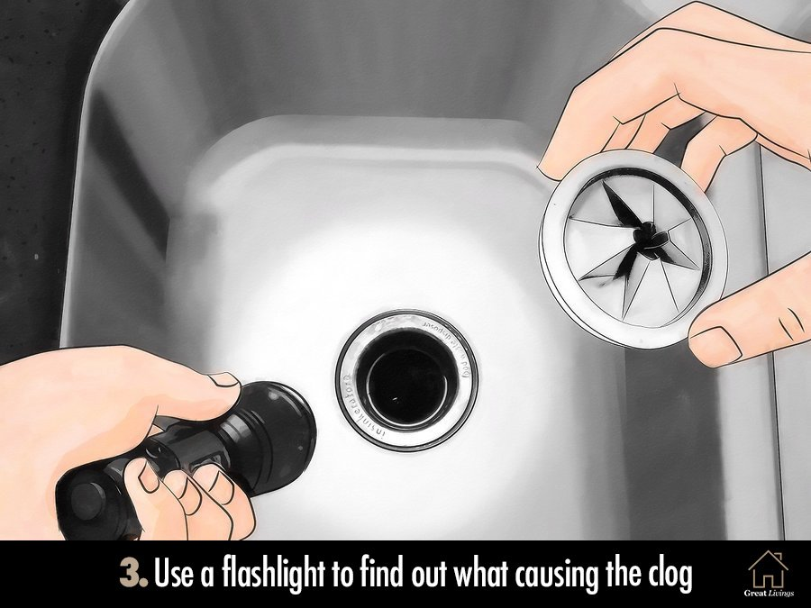 Use a flashlight to find out what causing the clog