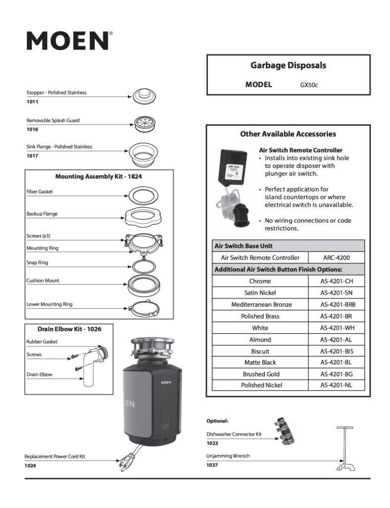Moen GX50C Garbage Disposal Parts List