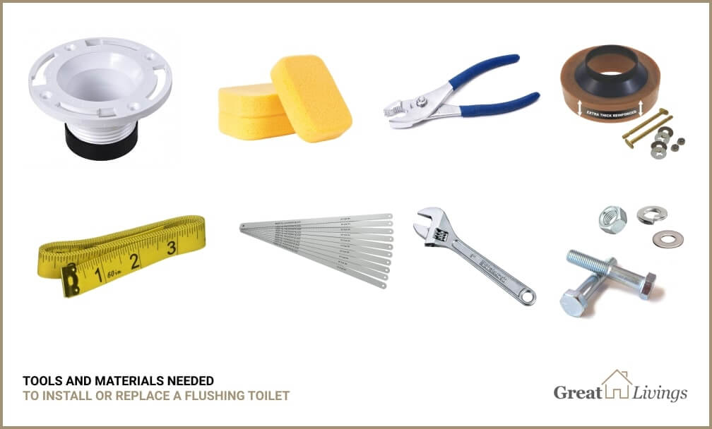 Tools and materials for toilet installation
